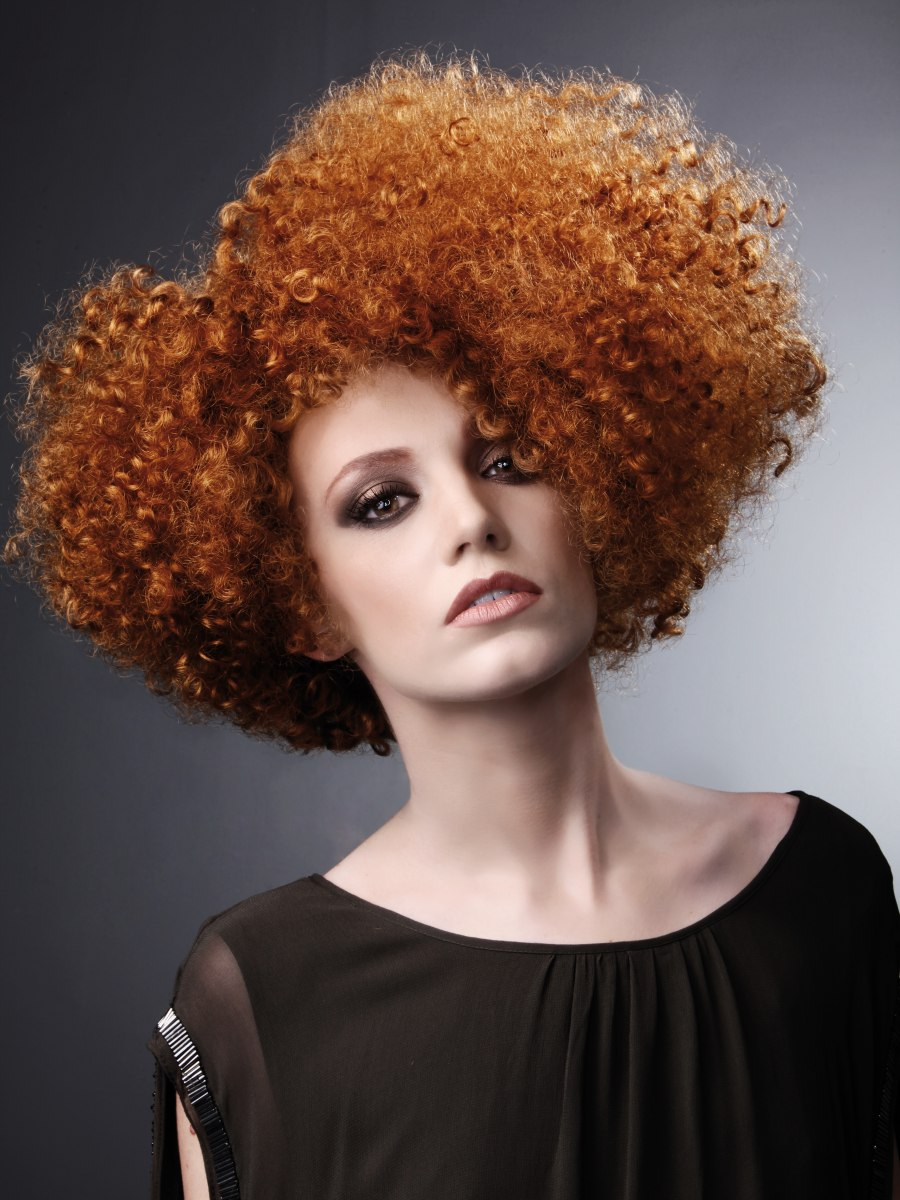 Afro For Copper Hair With Tiny Curls