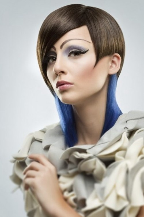 Haircut With A Combination Of Brown And Electric Blue Hair