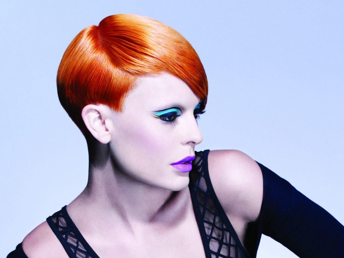 Bright Copper Hair For A Short Haircut With A Clean Contour