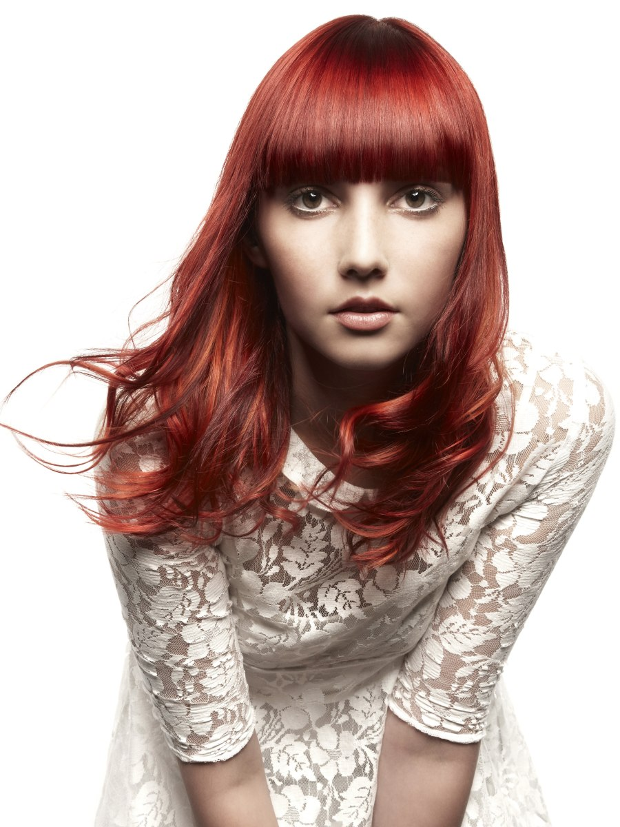 Long Haircut With Extremely Straight Bangs Red Hair