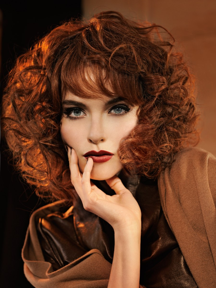 Red Shoulder Length Hairstyle With Curls And Straight Bangs