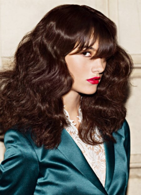 Long And Wavy Chestnut Hair With Straight Bangs