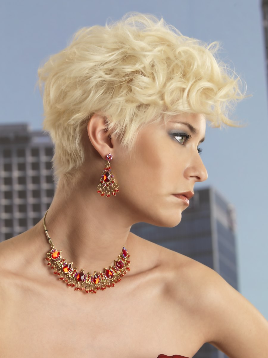 Festive Short Hairstyle With A Short Neck And Thick Curls