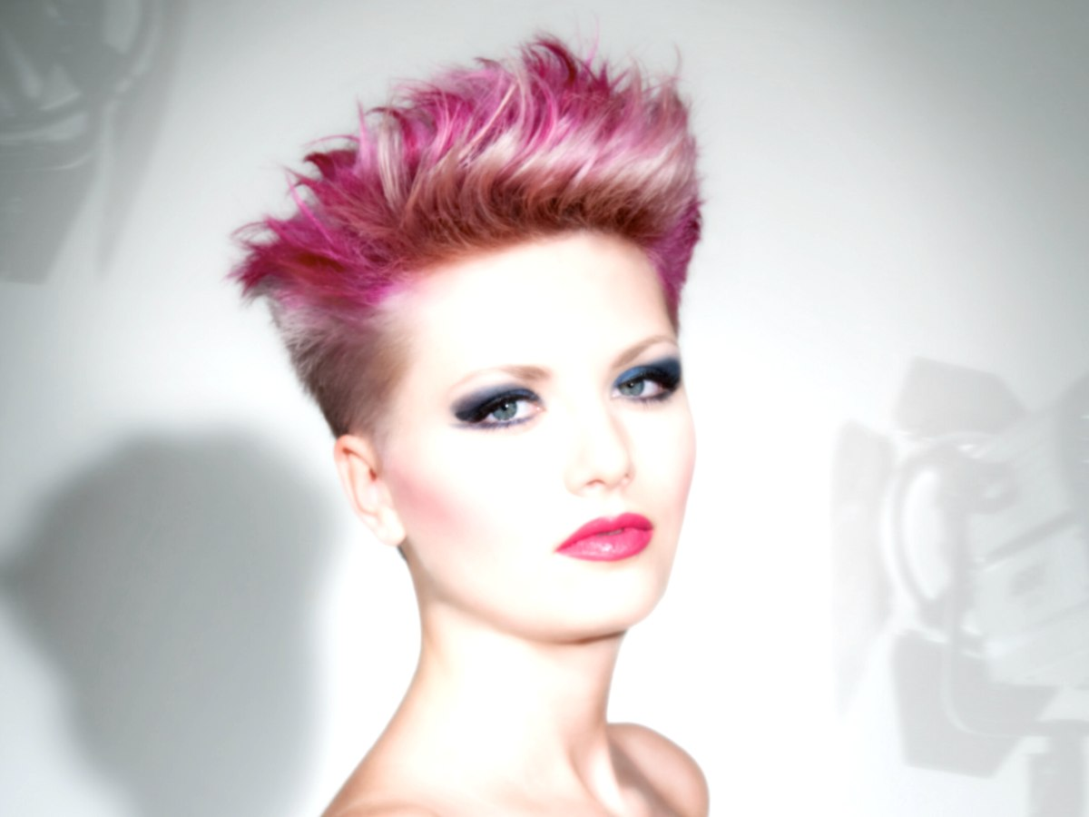 Punky Hair With Extra Short Sides And Pink Hues