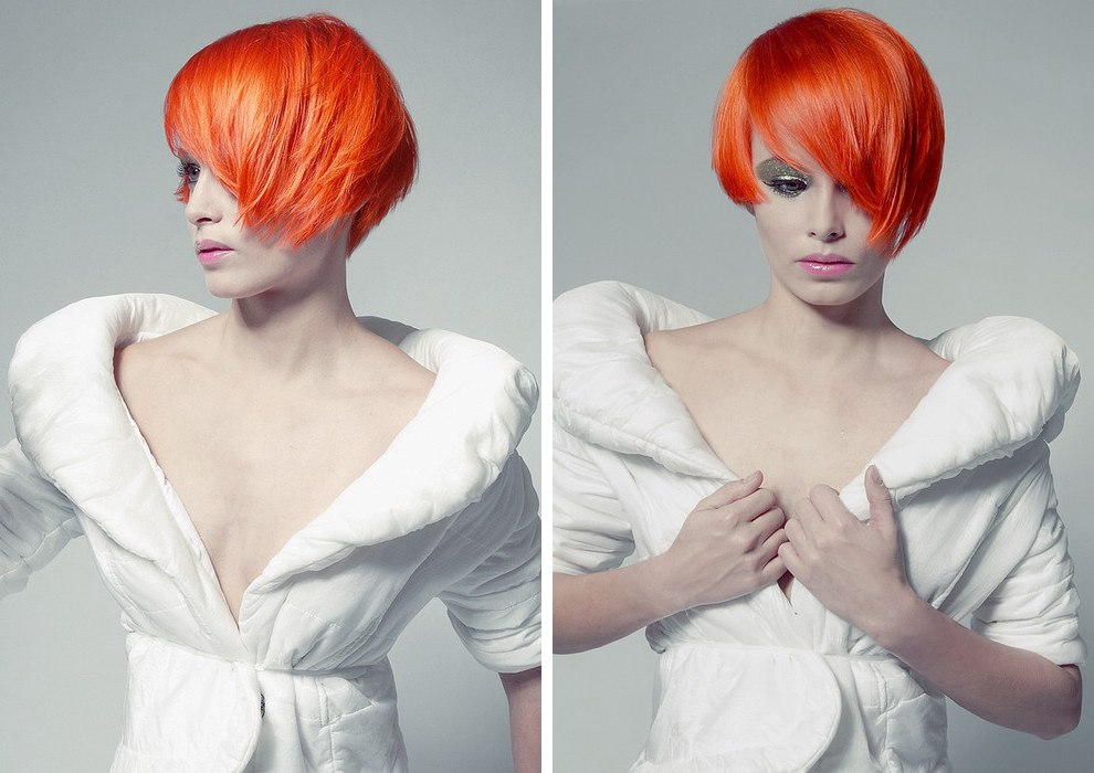 Short Lava Red Hair With One Side Cut Above The Earlobe