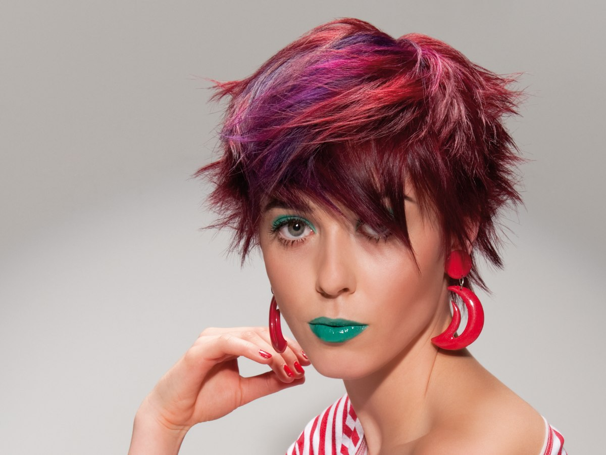 Short And Spiky Punk Haircut With Purple Pink And Red Colors