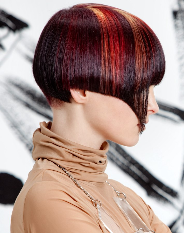 Haircut With A Very Short Nape And Streaks Of Hair Color