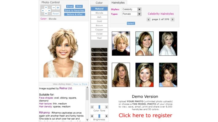 virtual hair app - try celebrity hairstyles on your photo