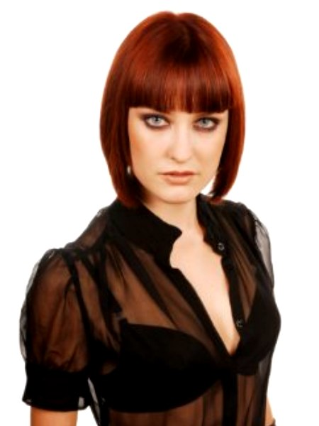 Mid Neck Length Redhead Bob That Displays The Natural