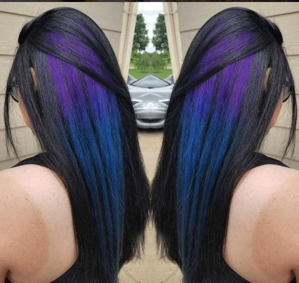 Peekaboo hair highlights