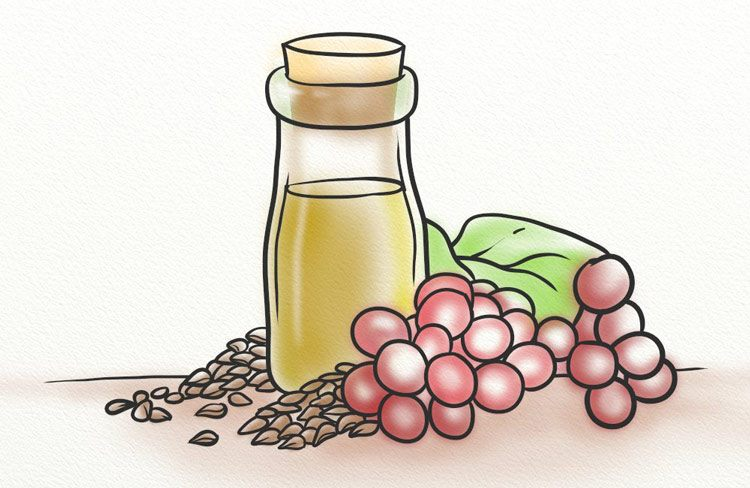 Grapes, seeds and oil on a table