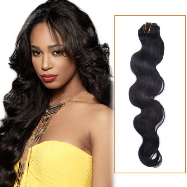 22 inch #1 jet black body wave brazilian virgin hair wefts