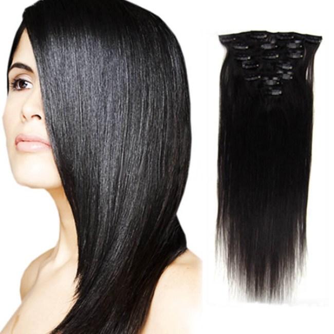 28 Inch Human Hair Clip In Extension Black Women