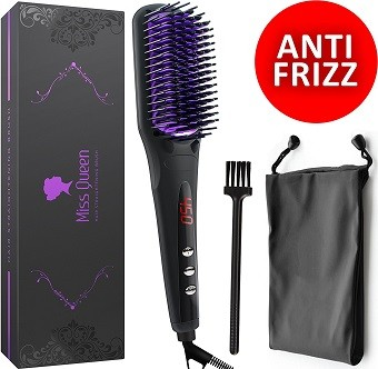 Miss Queen Electric Ionic Ceramic Hair Straightening Brush