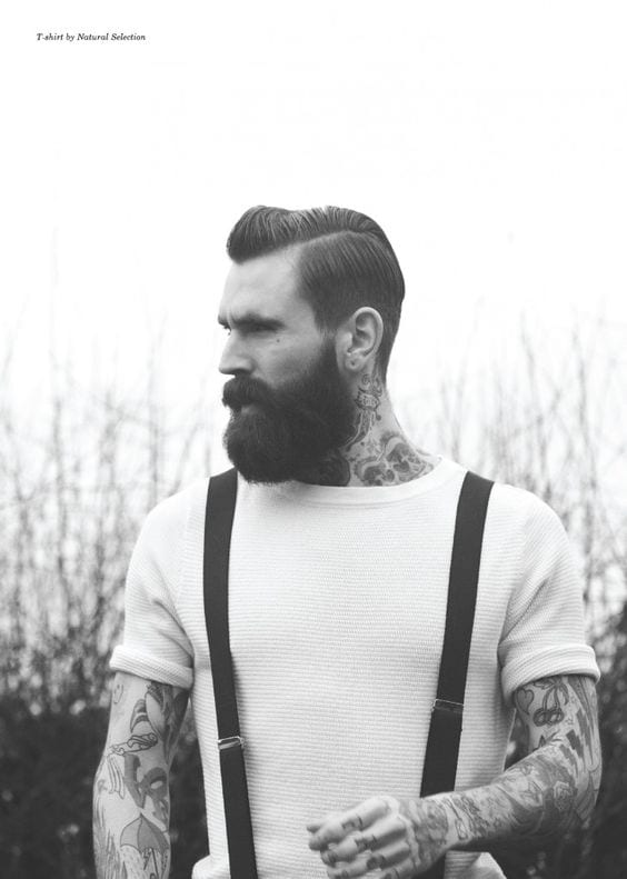 Suspender Genuinely Paired to compliment Hipster look amazed with Tattoo & Beard & dont forget the hair!