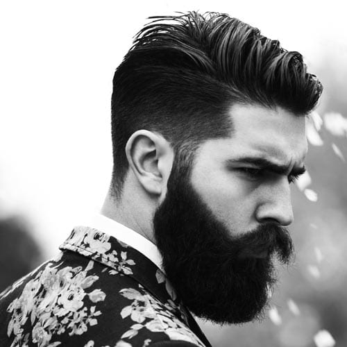 undercut hairstyle with full beard