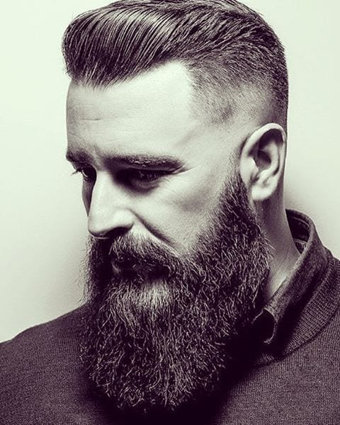 undercut hairstyle with longbeard