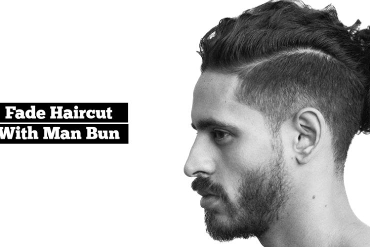 Fade haircut with Man Bun