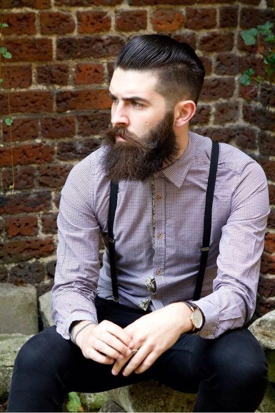 sleek back with beard
