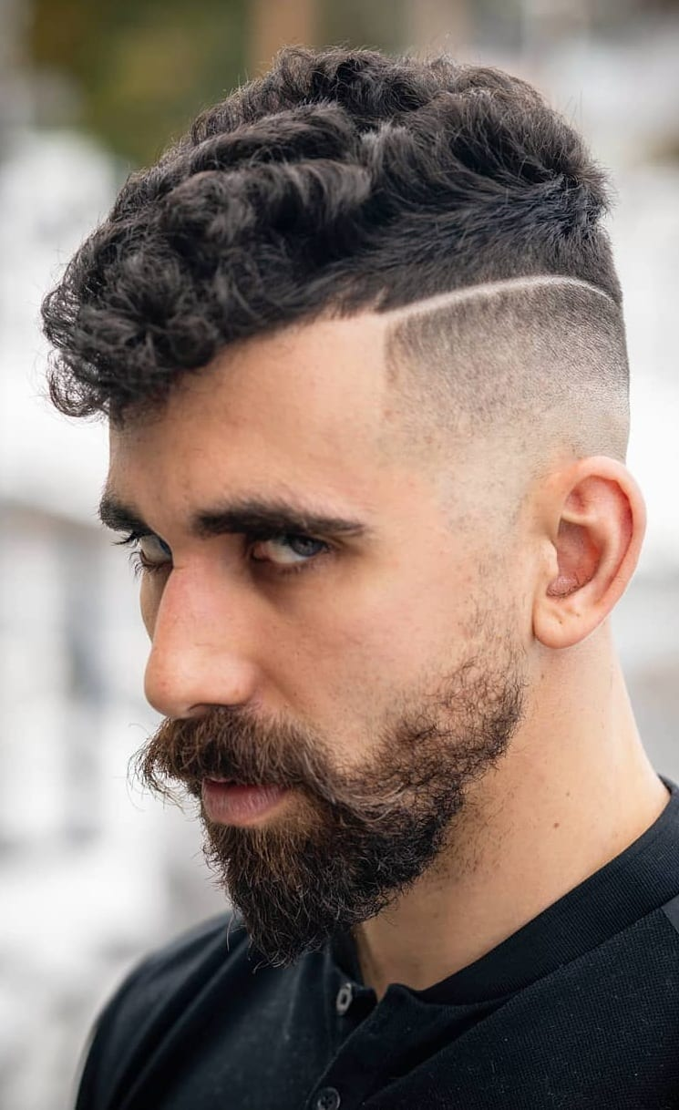 Curly Hair and Fade for Men