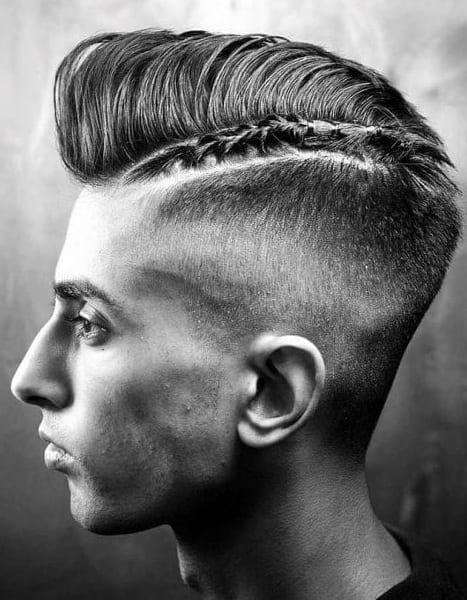 Fade Haircut with Braided Bun For Men