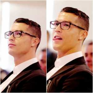 Ronaldo Side Hairstyle Looks with glasses