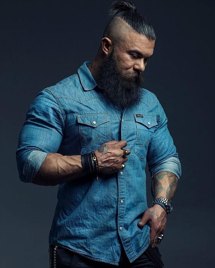 mohawk haircut and beard