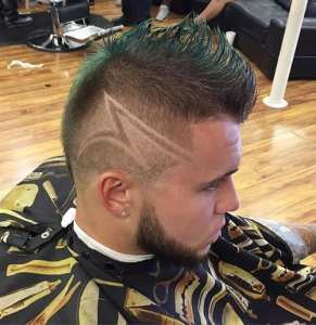mohawk with shaven designs for thin hair