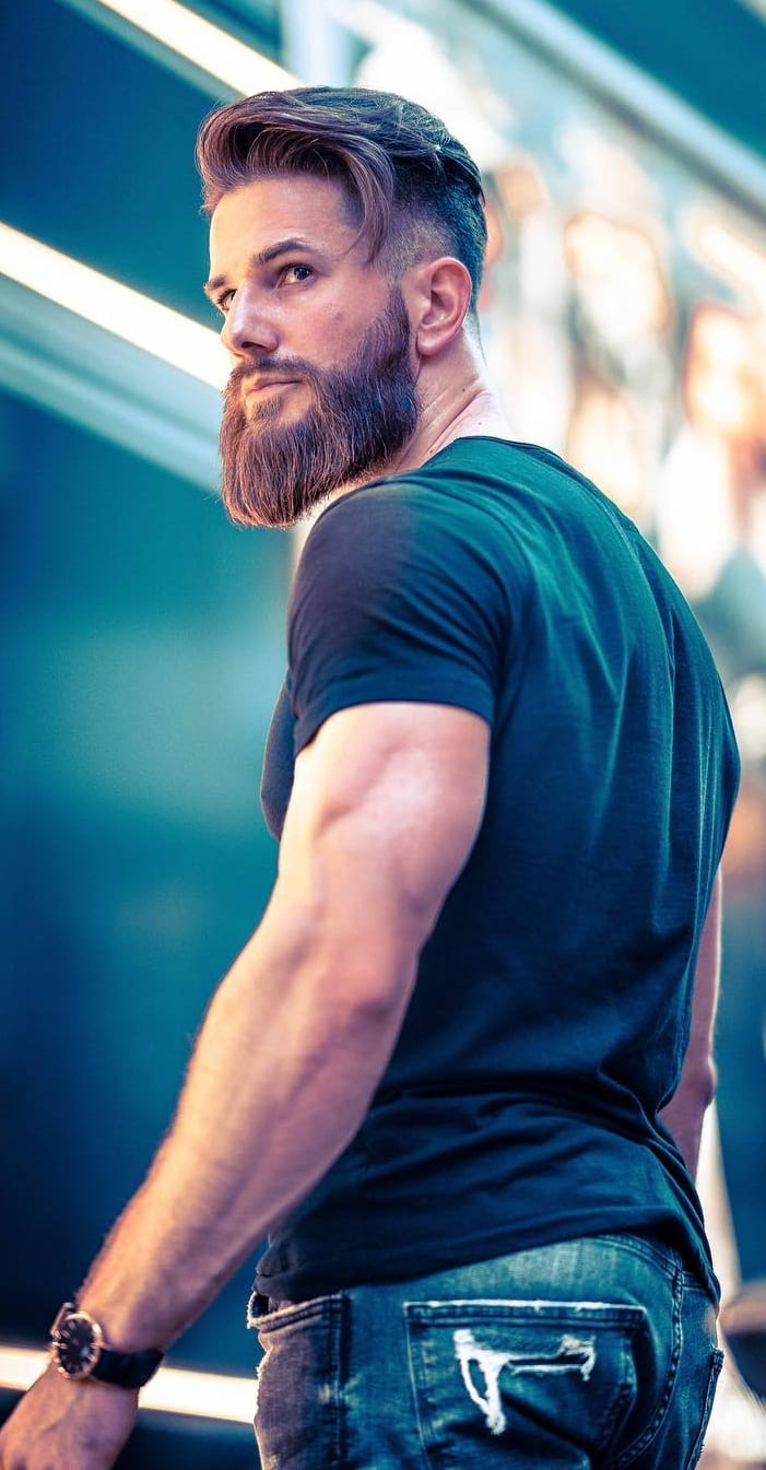 Medium haircut for men with beard
