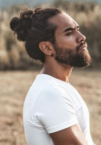 Long Hair Man Bun Hairstyle For Men