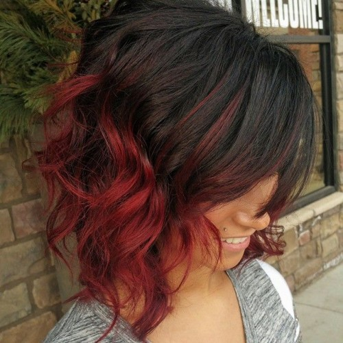Black And Red Ombre Short Hair