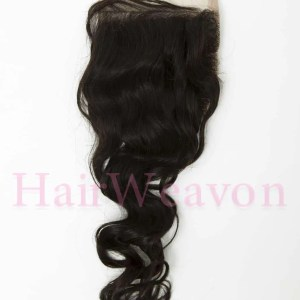 Lace Closure Hair Piece | Wavy Human Hair | Natural Black 1B