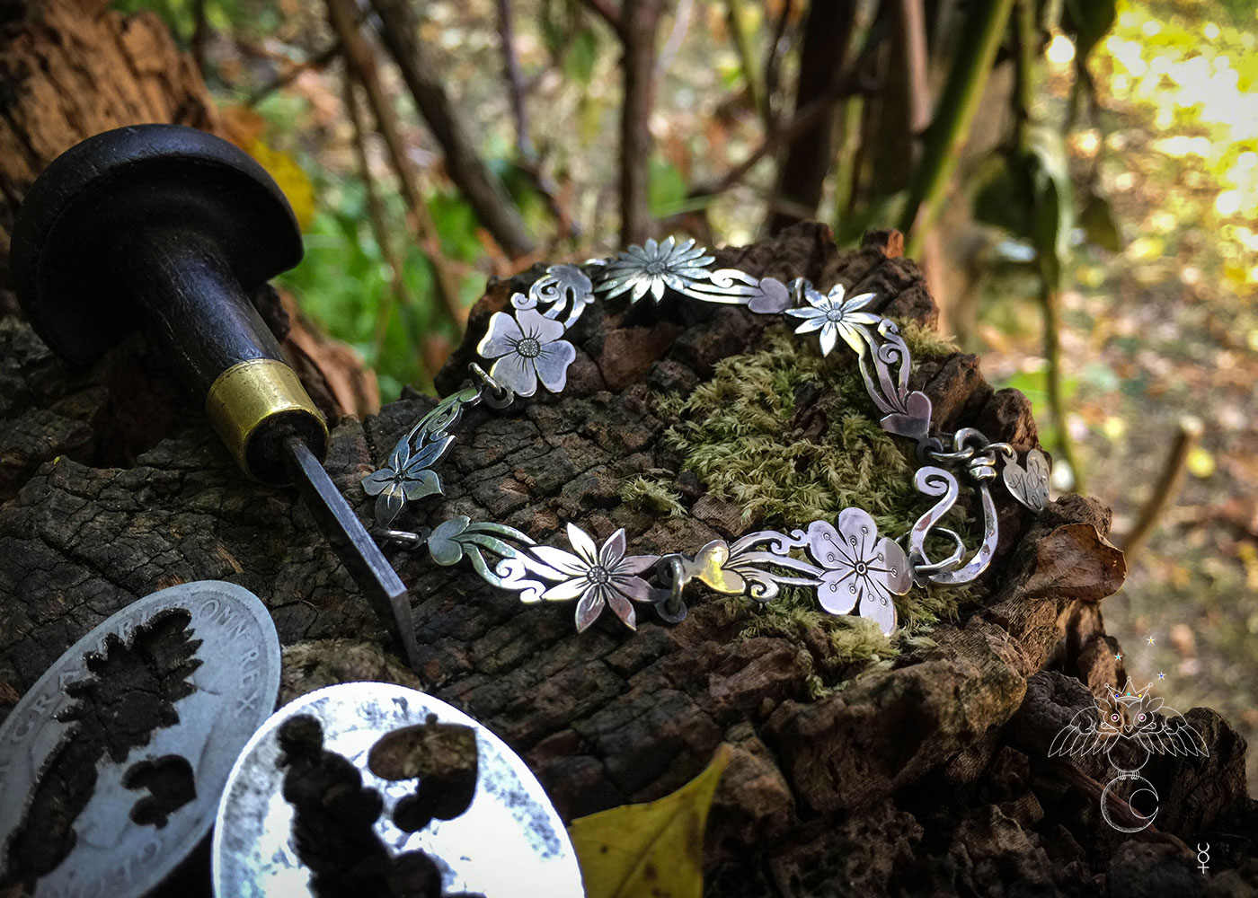 Wild flower bracelet made from recycled sterling silver coins