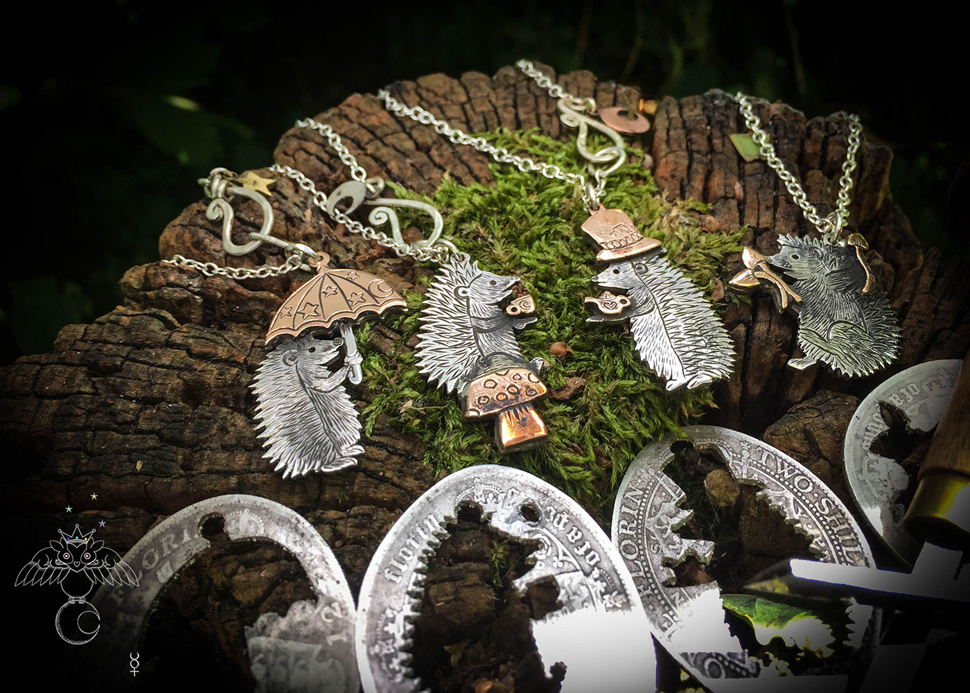 a hedgehog gathering, necklaces made from old silver coins