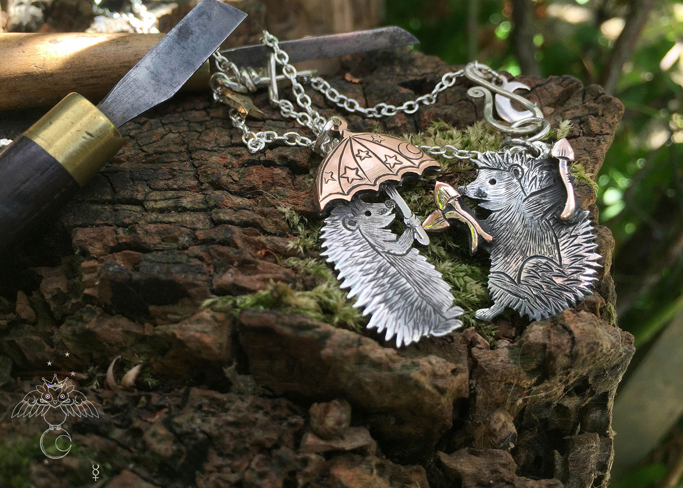 a hedgehog gathering in silver