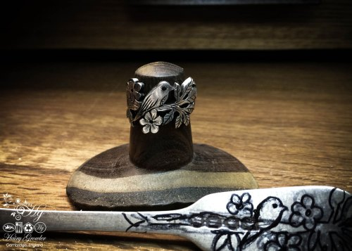 handmade and recycled silver fork bird ring