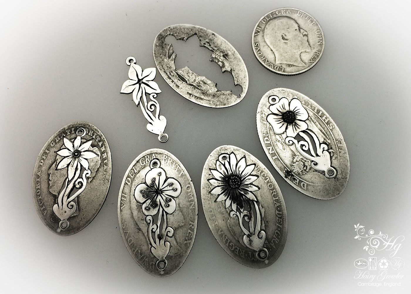 Beautiful sterling silver wild flower bracelet made from coins
