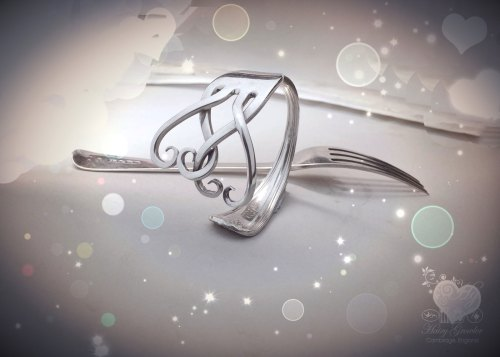 handmade upcycled silver fork bracelet bangle