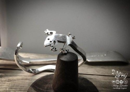 handmade and repurposed fork gecko bracelet