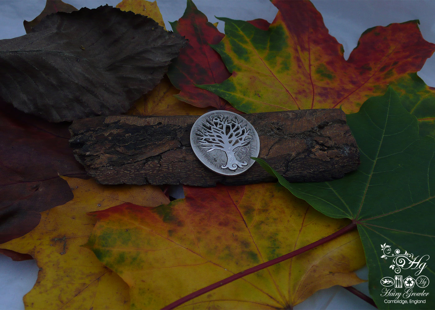 Handmade and upcycled silver Autumn tree made from a silver coin