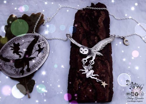 'Damn those shrooms' Handmade and recycled sterling silver crown Owl necklace inspired by DMT