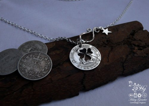 Handmade and repurposed lucky silver sixpence coin necklace pendant