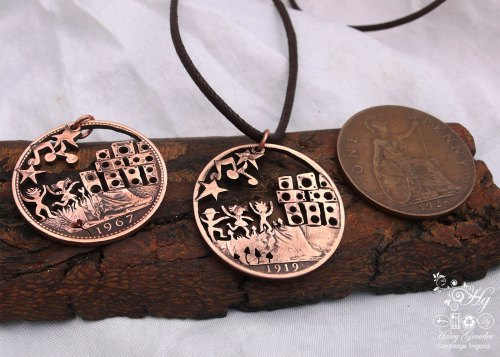 Handcrafted and repurposed party scene coin pendant necklace