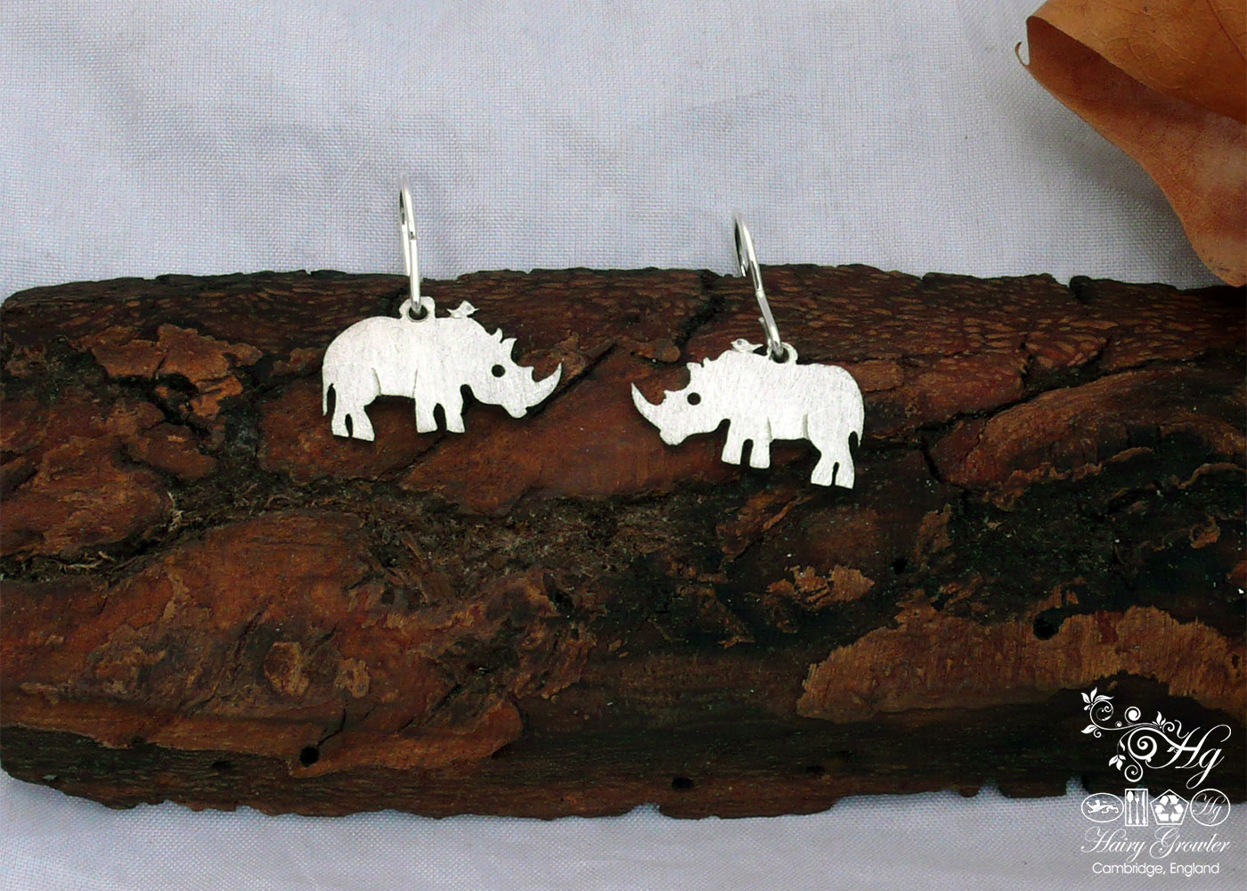 handcrafted and recycled antique spoon rhino earrings