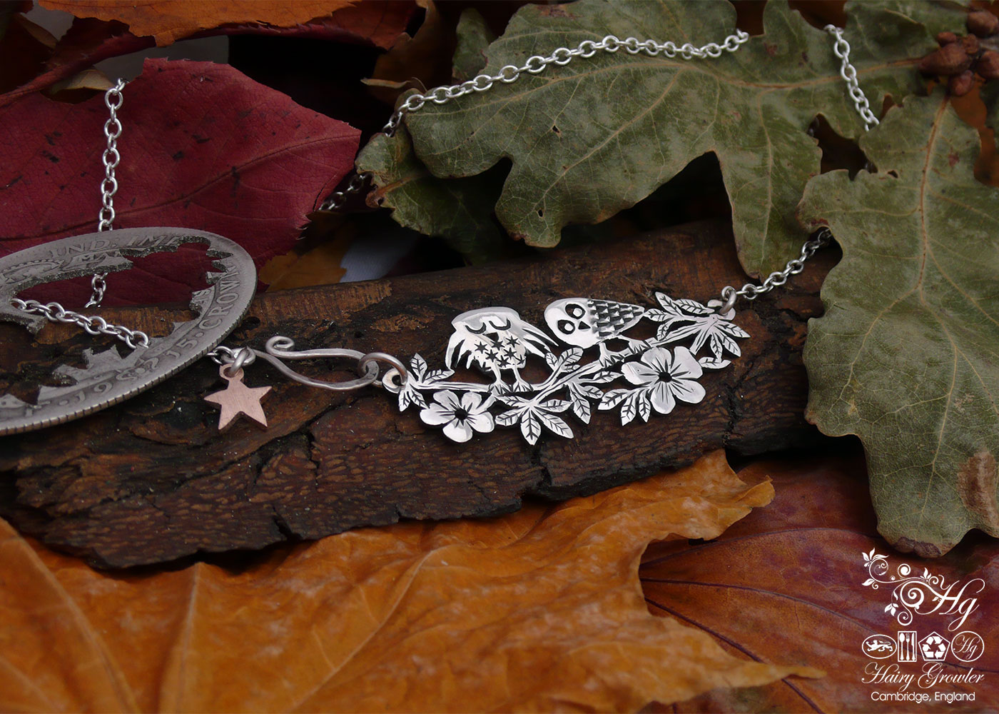Handcrafted and recycled sterling silver 'Sleepy & Wee' owl necklace