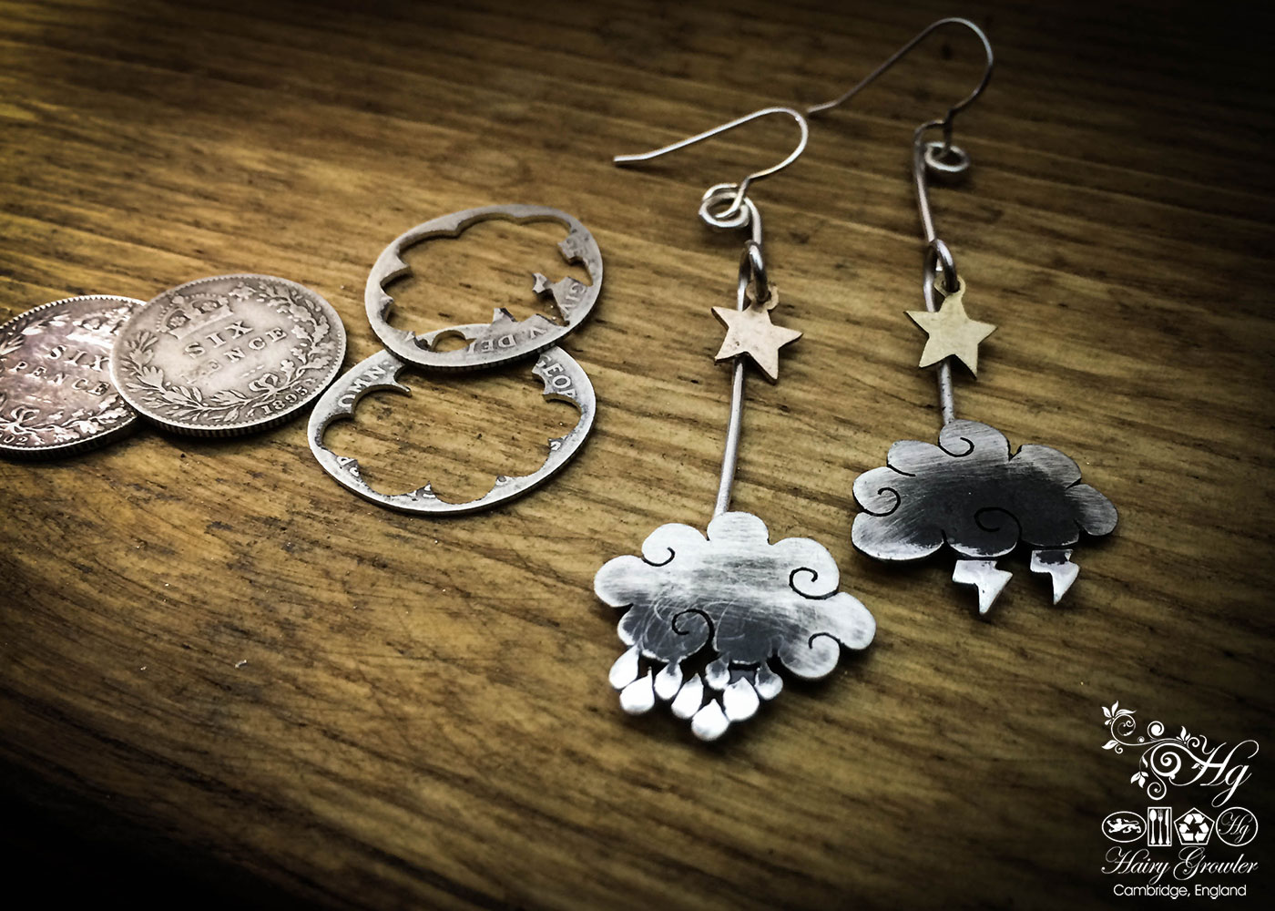 The Official Hairy Growler Jewellery Co. Cambridge - handcrafted and recycled silver sixpence cloud earrings