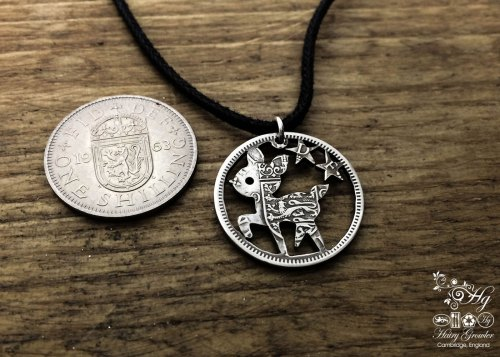 Handcrafted and recycled Bambi pendant necklace made from a repurposed coin