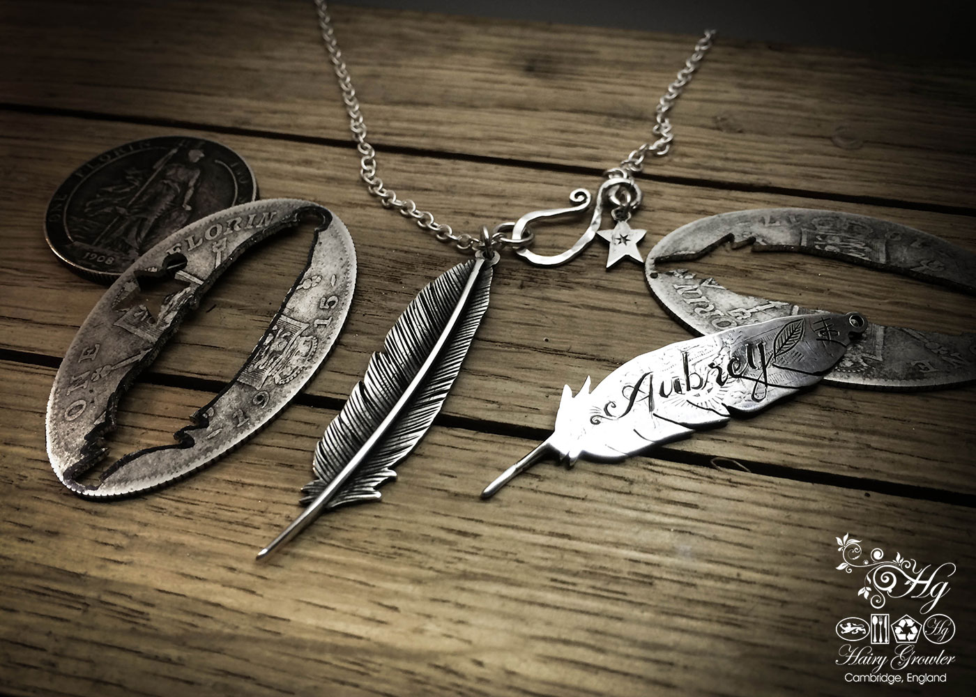 Feather ethical jewellery handmade and recycled silver feather necklace