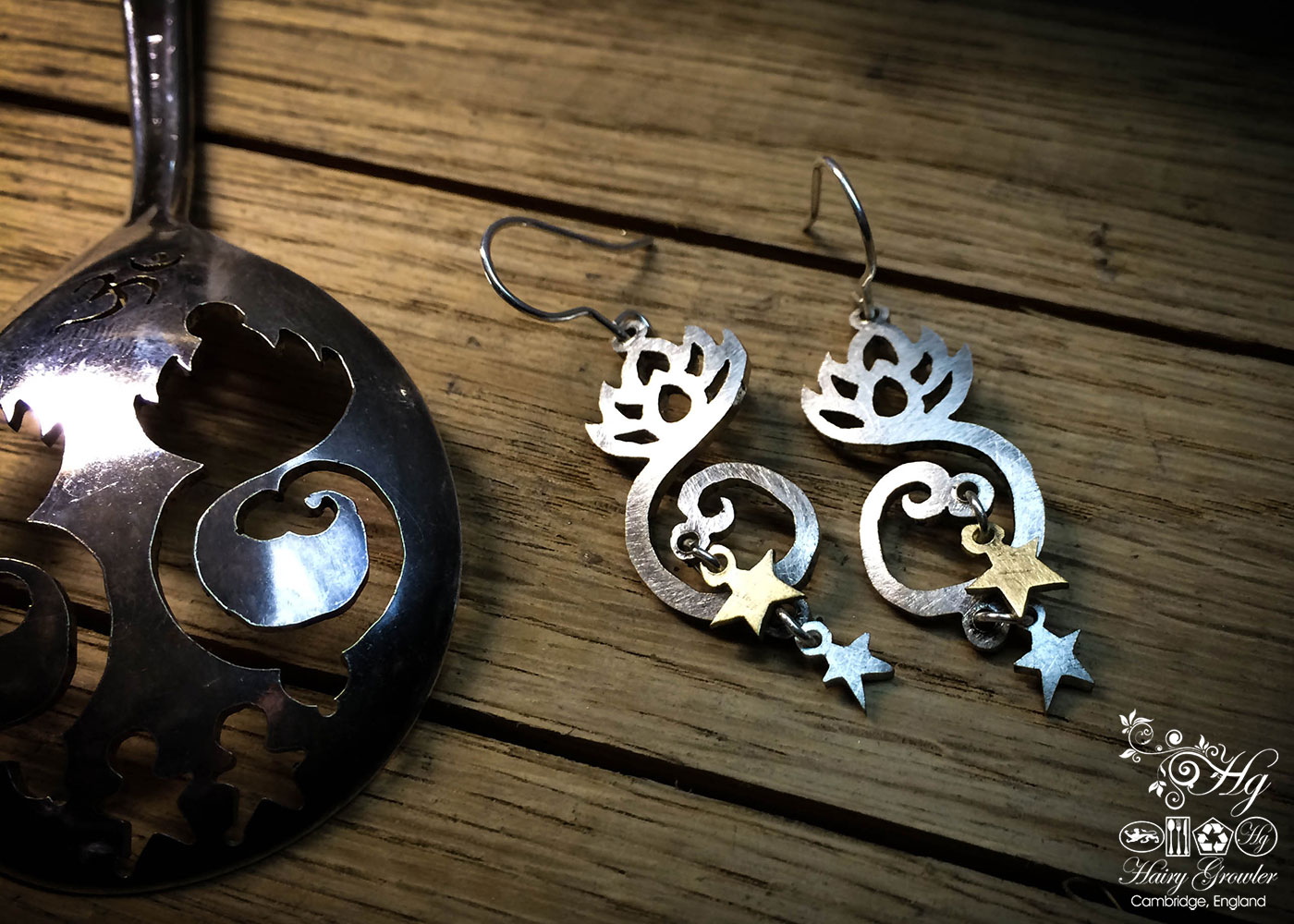 handcrafted and recycled spoon lotus-flower earrings