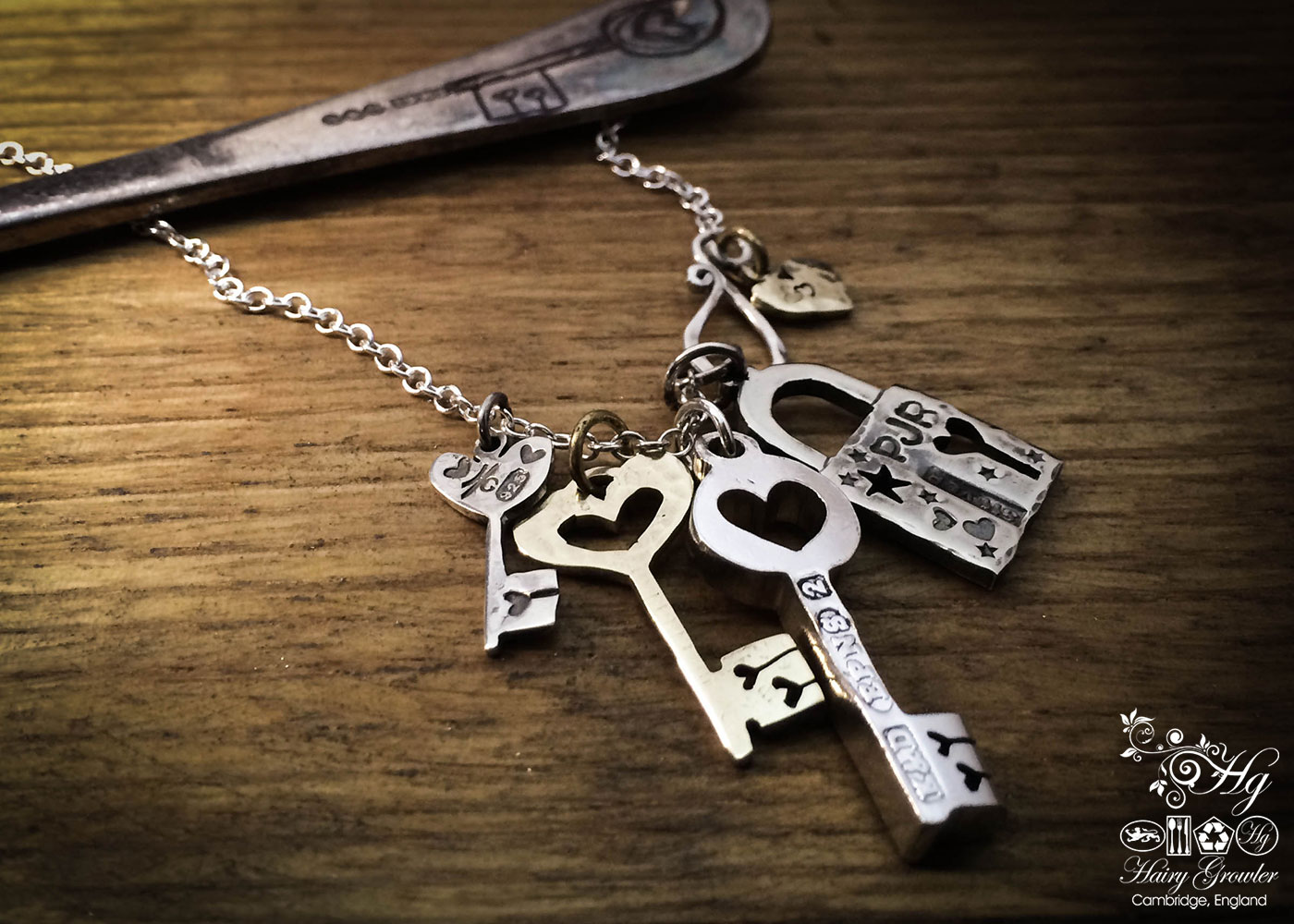 handcrafted and upcycled vintage spoon love lock and key necklace